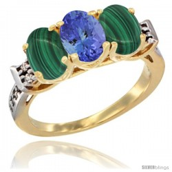 10K Yellow Gold Natural Tanzanite & Malachite Sides Ring 3-Stone Oval 7x5 mm Diamond Accent
