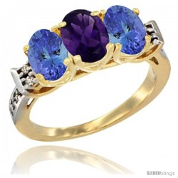 10K Yellow Gold Natural Amethyst & Tanzanite Sides Ring 3-Stone Oval 7x5 mm Diamond Accent