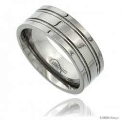 Titanium 8mm Flat Wedding Band Ring 2 Grooves Polished Finish Comfort-fit