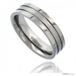 Titanium 6mm Flat Wedding Band Ring 2 Grooves Matte Center Comfort-fit