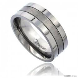 Titanium 8mm Flat Wedding Band Ring 2 Grooves Matte Center Comfort-fit