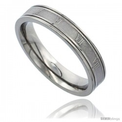 Titanium 4.5mm Flat Wedding Band Ring Roman Numerals I-XII Matte Center Grooved Edges Comfort-fit
