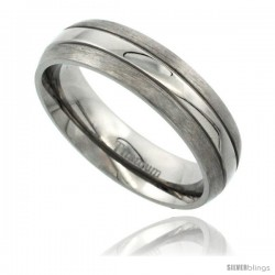 Titanium 6mm Domed Wedding Band Ring Polished Stripe Center Matte Edges Comfort-fit