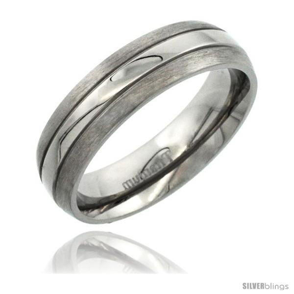 Titanium 6mm Domed Wedding Band Ring Polished Stripe Center Matte Edges Comfo