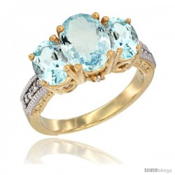 14K Yellow Gold Ladies 3-Stone Oval Natural Aquamarine Ring Diamond Accent