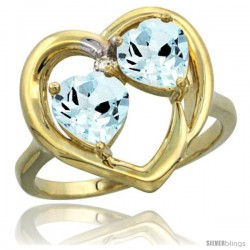 14k Yellow Gold 2-Stone Heart Ring 6mm Natural Aquamarine Stones Diamond Accent