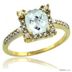 14k Yellow Gold Diamond Halo Aquamarine Ring 1.2 ct Checkerboard Cut Cushion 6 mm, 11/32 in wide