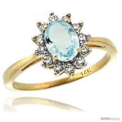 14k Yellow Gold Diamond Halo Aquamarine Ring 0.85 ct Oval Stone 7x5 mm, 1/2 in wide