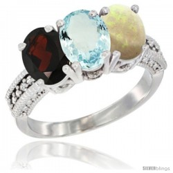 14K White Gold Natural Garnet, Aquamarine & Opal Ring 3-Stone 7x5 mm Oval Diamond Accent