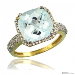 14k Yellow Gold Diamond Halo Aquamarine Ring Checkerboard Cushion 11 mm 5.85 ct 1/2 in wide
