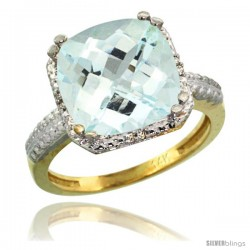 14k Yellow Gold Diamond Aquamarine Ring 5.94 ct Checkerboard Cushion 11 mm Stone 1/2 in wide