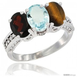 14K White Gold Natural Garnet, Aquamarine & Tiger Eye Ring 3-Stone 7x5 mm Oval Diamond Accent