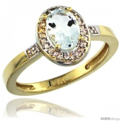 14k Yellow Gold Diamond Aquamarine Ring 1 ct 7x5 Stone 1/2 in wide