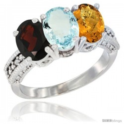 14K White Gold Natural Garnet, Aquamarine & Whisky Quartz Ring 3-Stone 7x5 mm Oval Diamond Accent