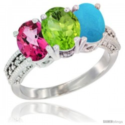 14K White Gold Natural Pink Topaz, Peridot & Turquoise Ring 3-Stone 7x5 mm Oval Diamond Accent