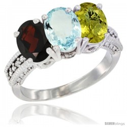 14K White Gold Natural Garnet, Aquamarine & Lemon Quartz Ring 3-Stone 7x5 mm Oval Diamond Accent