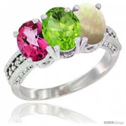 14K White Gold Natural Pink Topaz, Peridot & Opal Ring 3-Stone 7x5 mm Oval Diamond Accent