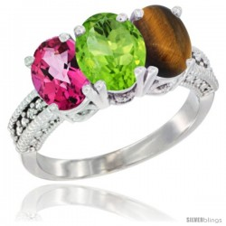 14K White Gold Natural Pink Topaz, Peridot & Tiger Eye Ring 3-Stone 7x5 mm Oval Diamond Accent