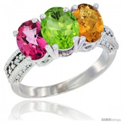 14K White Gold Natural Pink Topaz, Peridot & Whisky Quartz Ring 3-Stone 7x5 mm Oval Diamond Accent