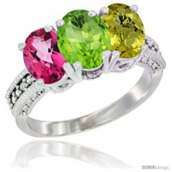 14K White Gold Natural Pink Topaz, Peridot & Lemon Quartz Ring 3-Stone 7x5 mm Oval Diamond Accent
