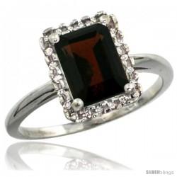 14k White Gold Diamond Garnet Ring 1.6 ct Emerald Shape 8x6 mm, 1/2 in wide
