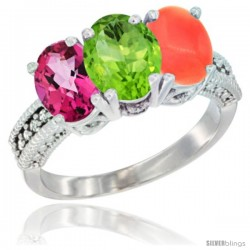 14K White Gold Natural Pink Topaz, Peridot & Coral Ring 3-Stone 7x5 mm Oval Diamond Accent