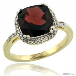 10k Yellow Gold Diamond Garnet Ring 3.05 ct Cushion Cut 9x9 mm, 1/2 in wide