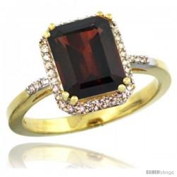 10k Yellow Gold Diamond Garnet Ring 2.53 ct Emerald Shape 9x7 mm, 1/2 in wide