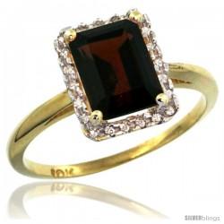10k Yellow Gold Diamond Garnet Ring 1.6 ct Emerald Shape 8x6 mm, 1/2 in wide