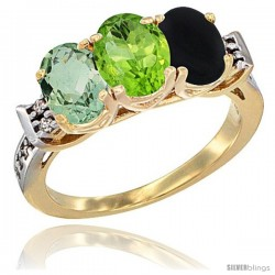 10K Yellow Gold Natural Green Amethyst, Peridot & Black Onyx Ring 3-Stone Oval 7x5 mm Diamond Accent