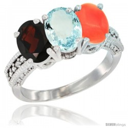 14K White Gold Natural Garnet, Aquamarine & Coral Ring 3-Stone 7x5 mm Oval Diamond Accent