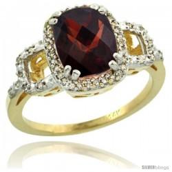 10k Yellow Gold Diamond Garnet Ring 2 ct Checkerboard Cut Cushion Shape 9x7 mm, 1/2 in wide