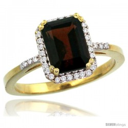 10k Yellow Gold Diamond Garnet Ring 1.6 ct Emerald Shape 8x6 mm, 1/2 in wide -Style Cy910129