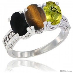 14K White Gold Natural Black Onyx, Tiger Eye & Lemon Quartz Ring 3-Stone 7x5 mm Oval Diamond Accent