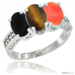 14K White Gold Natural Black Onyx, Tiger Eye & Coral Ring 3-Stone 7x5 mm Oval Diamond Accent