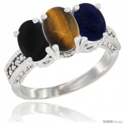 14K White Gold Natural Black Onyx, Tiger Eye & Lapis Ring 3-Stone 7x5 mm Oval Diamond Accent