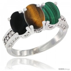 14K White Gold Natural Black Onyx, Tiger Eye & Malachite Ring 3-Stone 7x5 mm Oval Diamond Accent