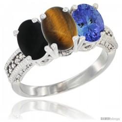14K White Gold Natural Black Onyx, Tiger Eye & Tanzanite Ring 3-Stone 7x5 mm Oval Diamond Accent