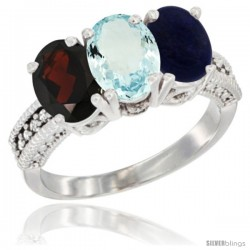 14K White Gold Natural Garnet, Aquamarine & Lapis Ring 3-Stone 7x5 mm Oval Diamond Accent