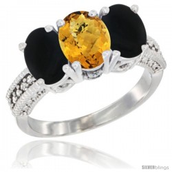 14K White Gold Natural Whisky Quartz & Black Onyx Sides Ring 3-Stone 7x5 mm Oval Diamond Accent