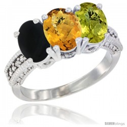 14K White Gold Natural Black Onyx, Whisky Quartz & Lemon Quartz Ring 3-Stone 7x5 mm Oval Diamond Accent