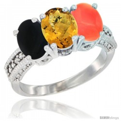 14K White Gold Natural Black Onyx, Whisky Quartz & Coral Ring 3-Stone 7x5 mm Oval Diamond Accent
