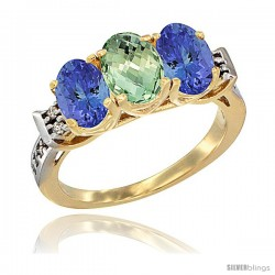 10K Yellow Gold Natural Green Amethyst & Tanzanite Sides Ring 3-Stone Oval 7x5 mm Diamond Accent