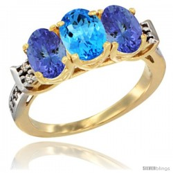 10K Yellow Gold Natural Swiss Blue Topaz & Tanzanite Sides Ring 3-Stone Oval 7x5 mm Diamond Accent