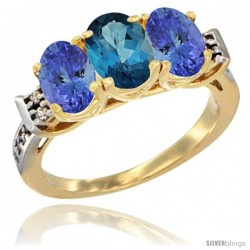 10K Yellow Gold Natural London Blue Topaz & Tanzanite Sides Ring 3-Stone Oval 7x5 mm Diamond Accent