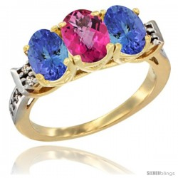 10K Yellow Gold Natural Pink Topaz & Tanzanite Sides Ring 3-Stone Oval 7x5 mm Diamond Accent