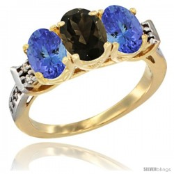10K Yellow Gold Natural Smoky Topaz & Tanzanite Sides Ring 3-Stone Oval 7x5 mm Diamond Accent