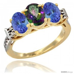 10K Yellow Gold Natural Mystic Topaz & Tanzanite Sides Ring 3-Stone Oval 7x5 mm Diamond Accent