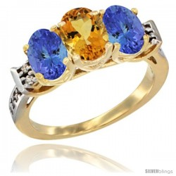 10K Yellow Gold Natural Citrine & Tanzanite Sides Ring 3-Stone Oval 7x5 mm Diamond Accent