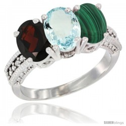 14K White Gold Natural Garnet, Aquamarine & Malachite Ring 3-Stone 7x5 mm Oval Diamond Accent